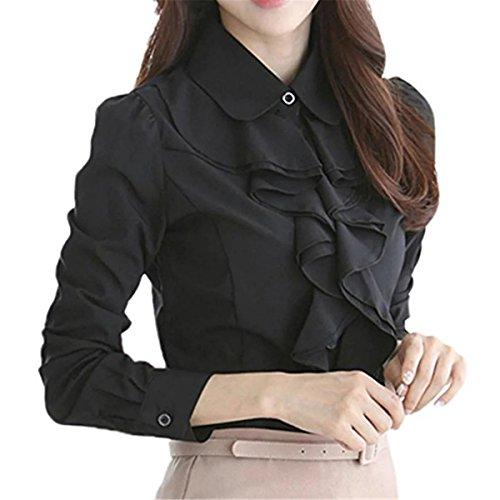 Ruffle Blouse (Betusline Women's Elegant Long Sleeve Ruffle Collar OL Tops Blouse T Shirt Black)