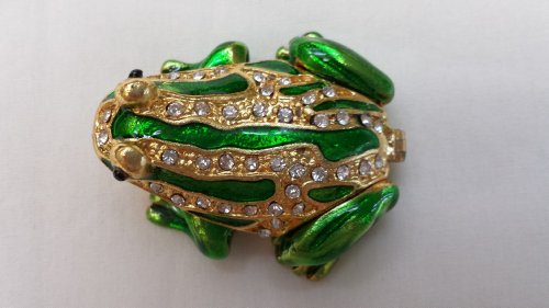Gorgeous Miniature Frog Jewelled Trinket Box Jewelry Box with Inlaid Crystal, Pill Box Figurine ()