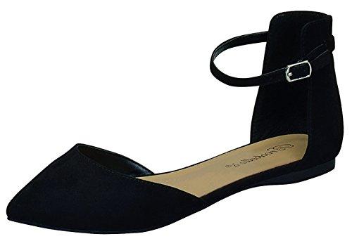 Breckelles Women's d'Orsay Pointy Toe Ankle Strap Buckle Ballet Flat (7.5 B(M) US, Black) Black Ankle Wrap