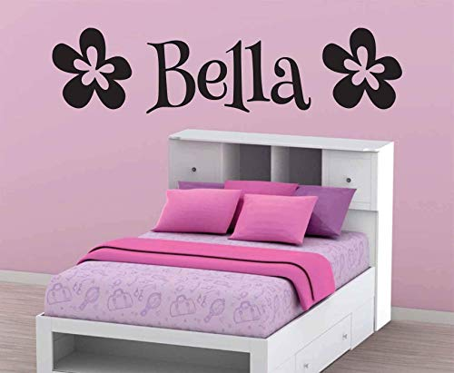 Bella-Flower-Wall-Decal-Personalized-Room-Wall-Art-Custom-Name-Vinyl