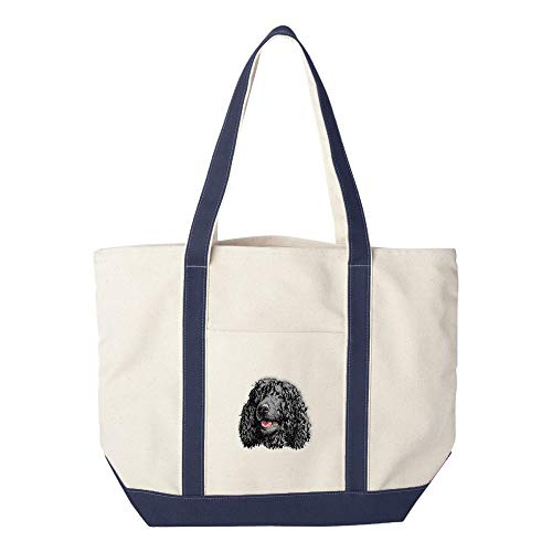 Cherrybrook Dog Breed Embroidered Canvas Tote Bags - Navy - Irish Water Spaniel