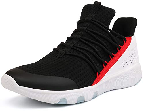 JOOMRA Mens Gym Shoes for Man Running Fitness Walking Jogging Casual Cool Male Designer Footwear Knit Sports Tennis Sneakers Black White Size 8.5 (Best Stylish Running Shoes)