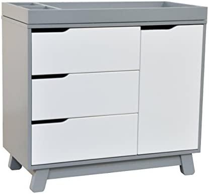 Babyletto Hudson 3 Drawer Changer Dresser With Removable Changing Tray, Grey  / White