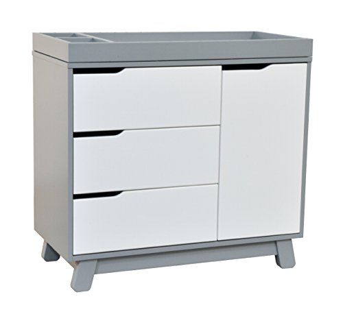(Babyletto Hudson 3-Drawer Changer Dresser with Removable Changing Tray, Grey / White)