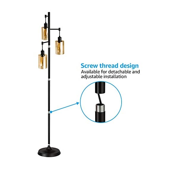 LEONLITE Industrial Floor Lamp with Amber Glass, 3-Head Vintage Track Tree Standing Lamp, 40W Retro Industrial Torchiere Floor Light, UL Listed for Living Room, Pack of 2 - Retro Style: This amber glass floor lamp adopts a retro style and the 3 included tungsten filament bulbs have a 360° beam angle that lights up every corner of your room Multiple Choices: This floor lamp matches ST64 and ST58 bulbs and we offer extra 2200K 3 40W tungsten filament bulbs Perfect Design: 18.11inch × 14.17inch × 10.24inch, this floor lamp gives the right amount of light you need when you sit on the sofa. It's the best choice for the living room, study room, dining room, bedroom and other indoor living spaces - living-room-decor, living-room, floor-lamps - 41yU5RhQoLL. SS570  -