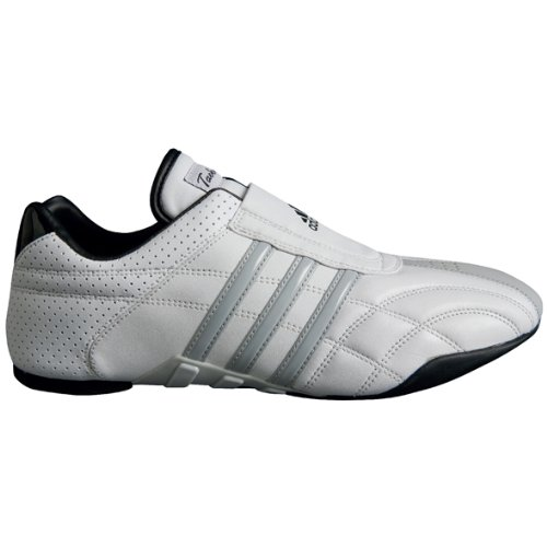 adidas Taekwondo Adilux Shoes (10.5, White W/Gray Stripe)