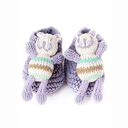 Finn + Emma Organic Rattle Booties, Cat, 0-6 Months