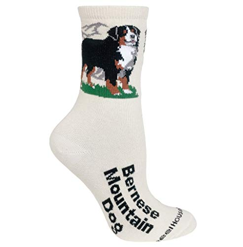 Bernese Mountain Dog Cream Ultra Lightweight Cotton Dog Breed Crew Socks (One Size Fits Most) Made in USA