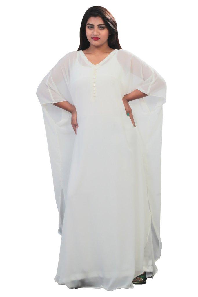 Leena Dubai Very Fancy Kaftan Luxury Crystal Beaded Caftan Abaya Wedding Dress (XXXXL White)