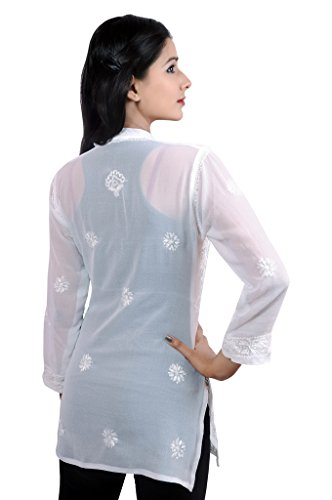 Mujer Damas Niñas Túnica/Superior gorgette conjunto bordado medias de ganchillo funda Kurti India Pakistán Full-White