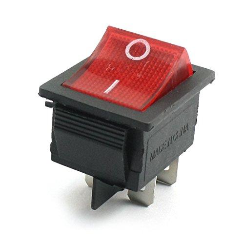 AC 250V 15A 125V 20A DPST 4Pin 2 Position Red Pilot Lamp Rocker (11 Lamp Pilot)