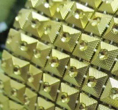 Dalab Ment,Gold Plastic Pyramid Stud Trimming,Plastic Rhinestones Banding,10yards/lot,7mm Rivet Stud,Stage Garment Patch - (Color: Gold)