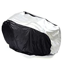 Tinksky Bike Cover - Waterproof Outdoor Bicycle Storage - 3 Bike Bicycle Scooter Rain Dust Protector Snow Sun Cover - Size L (Silver+Black)