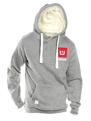 University of Whatever Campus Men hoody - Heavyweight hooded jumper with cosy hood (Heather Grey, M)
