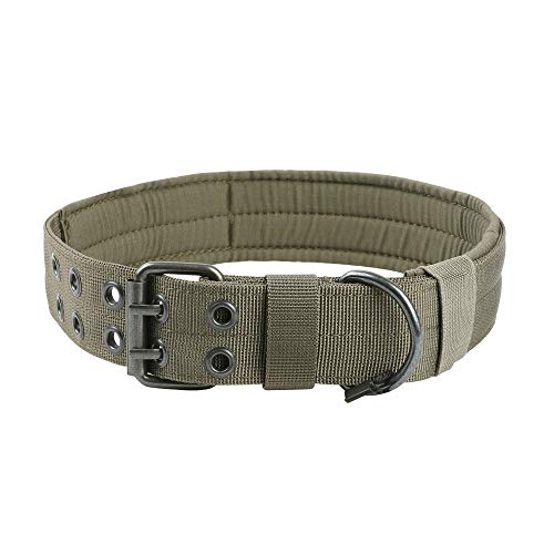 EXCELLENT ELITE SPANKER Nylon Tactical Dog Collar Military Adjustable Training Dog Collar with Double Metal D Ring Buckle(Ranger Green-M) ()