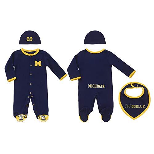 FAST ASLEEP Michigan Wolverines Baby Boy (3pc) Footie,