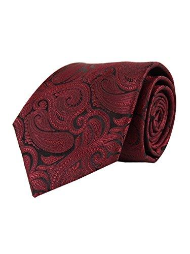 Men's Burgundy Paisley 100% Microfiber Poly Woven Wedding Neck Tie