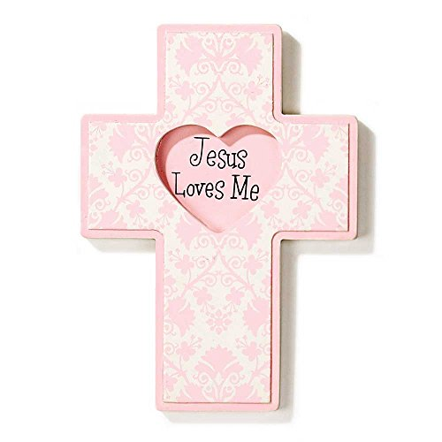 (Dicksons Jesus Loves Me Wall Cross, Pink Heart)