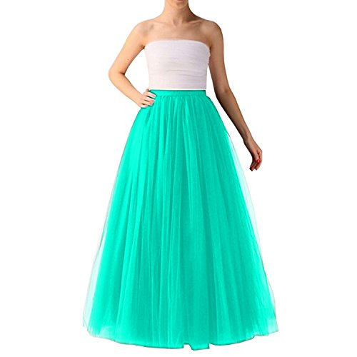 Omelas Women Long Maxi Tulle Skirt A-line Tutu Full Length Skirts Peacock Blue]()