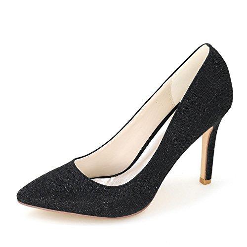 L@YC Frauen Hochzeitsschuhe / Spitz Seide Hochzeit Nacht Party & High Heels / Mehrfarbige große Werften Black