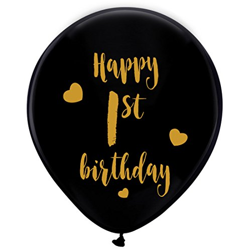 Black 1st Birthday Latex Balloons, 12inch (16pcs) Boy Girl Gold Happy First Birthday Party Decorations Supplies