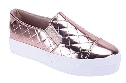 Cambridge Utvalda Womens Stängda Runt Cap Toe Vadderad Stretch Slip-on Flatform Mode Sneaker Ökade Guld
