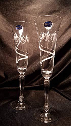 Copas Bohemia Cava/Champán Talladas a Mano con Estuche ECO.(mod. Victoria talla doble espiral). Ideal para brindis de novios en Bodas, aniversarios y celebraciones: Amazon.es: Handmade