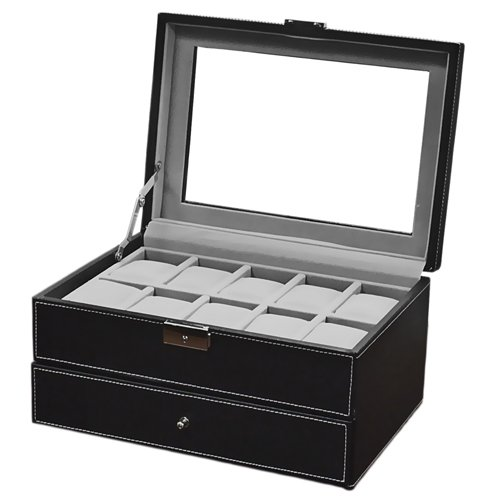 Science Purchase 20-Grid Mens Leather Display Glass Top Jewelry Case, Black