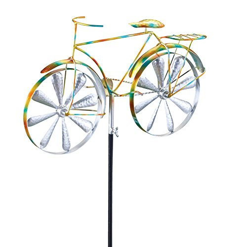 Whimsical Bicycle Wind Spinner Garden Decor Yard Stake, Yellow (Bicycle Garden Sculpture)
