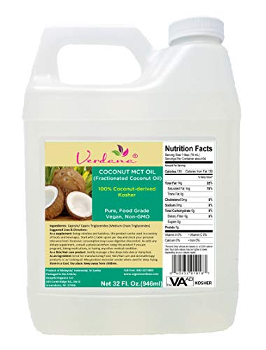 Verdana Coconut MCT Oil, Fractionated, Genuine 100% Coconut Derived,Kosher Certified Food Grade, Vegan, NON-GMO, Great for Keto and Paleo Diet (32 ()