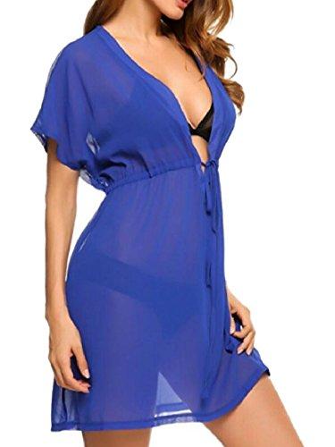 Qianqian-au Maillot De Bain En Mousseline De Soie Sexy Femmes Bikini Voir Par La Couverture En Robe Bleu Foncé