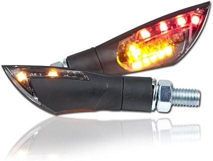 Motorrad Led Blinker Rücklichtkombi Dual Schwarz M8 Paar L 50mm H 21mm B 17mm Getönt E Geprüft Auto