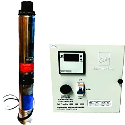 Kirloskar Submersible Pump 1HP With Control Panel Single Phase, Multicolor