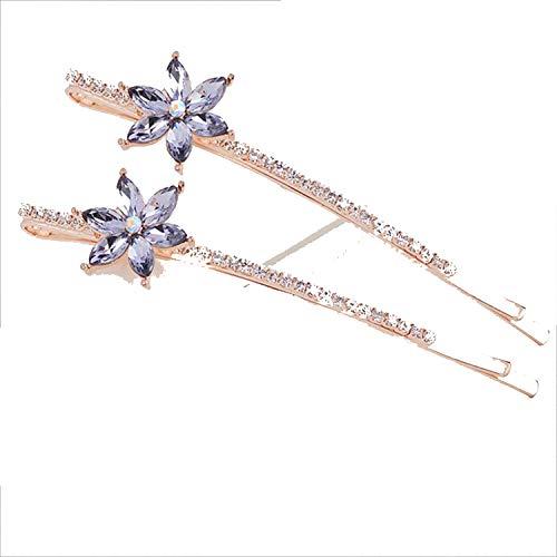 Crystal Flower Barrette s Hair Clips Women Wedding Hair Accessories Liu Hai Hair Pins Hair Jewelry For Girls,Purple