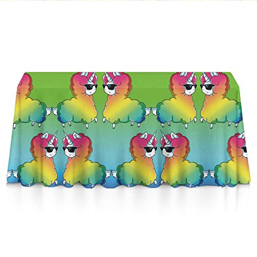 NiYoung Table Cloth, Dust-Proof Wrinkle Free Table Cloth, Rectangular Cute Funny Llama Rainbow Alpaca Print Machine Washable Table Protectors for Family Dinners, Gatherings, Table Art
