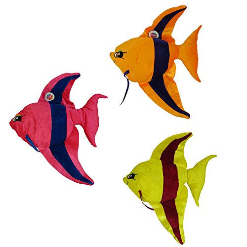 Generic Value Plush - SET OF 3 BABY ANGEL FISHES (Pink, Orange & Yellow - 22 inches) -