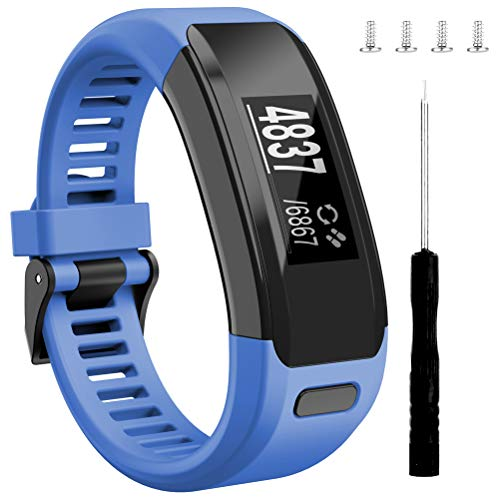 Wizvv Compatible Bands Replacement for Garmin Vivosmart HR, with Metal Buckle Fitness Wristband Strap,Blue