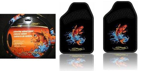 Ed Hardy Koi Fish Floor Mats & Steering Wheel Cover 3-pc Set