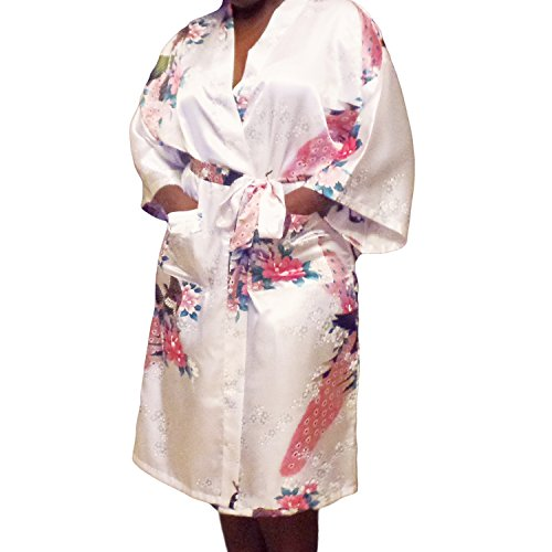 Gifts Are Blue Floral Satin Womens Plus Size Robes, Lightweight, Sizes 20-38, Knee Length (White, 6XL / 28W - 38W) by Gifts Are Blue (Image #7)