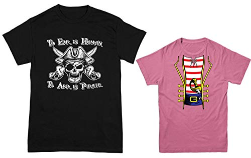 HAASE UNLIMITED to ERR is Human/Pirate Costume 2-Pack Youth & Men's T-Shirt (Black/Pink, Men's XX-Large/Youth Small) ()