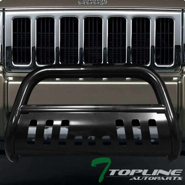 Topline Autopart Black Bull Bar Brush Push Front Bumper Grill Grille Guard With Skid Plate For 05-07 Jeep Grand Cherokee ; 06-10 Commander