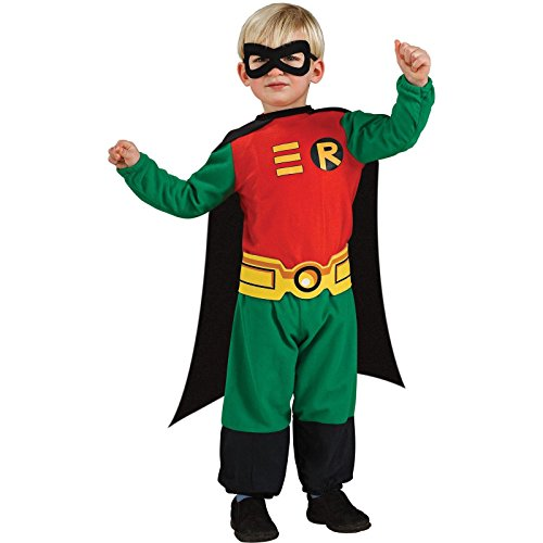 Rubie's Costume Co Teen Titans Robin Jumpsuit, Green/Red/Black, Infant 6 - 12 Months
