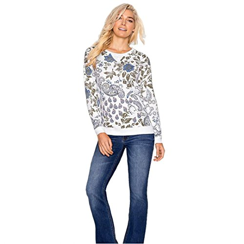 Perman Women's Unique Long Sleeve Cotton Casual Printed Blouse Shirt Tops (XL, White)