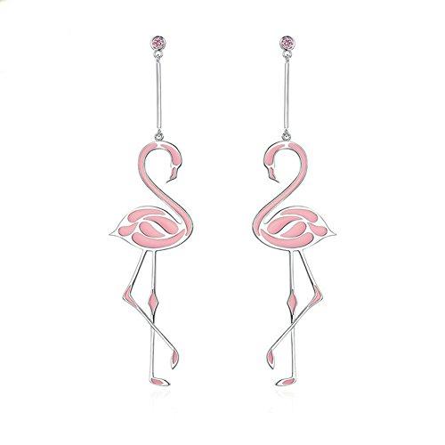BEAUTY Romantic Flamingo Earrings Copper Tassel Pink Flamingo Earring Jewelry For Women