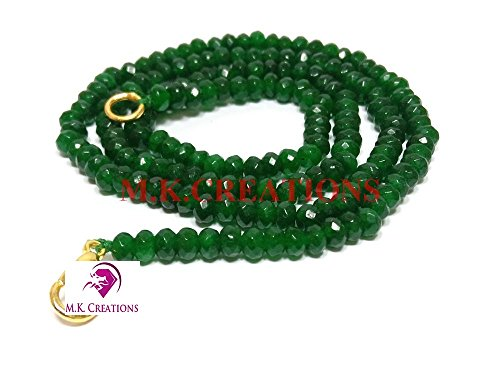 """dyed green jade 3-4mm rondelle faceted beads 16"""" long beaded necklace, green jade beaded necklace jewelry, exclusively by m.k.creations, green jade gemstone beads"""