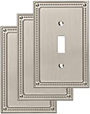 Franklin Brass W35058V-SN-C Classic Beaded Single Switch Wall Plate/Switch Plate/Cover (3 Pack), Satin Nickel