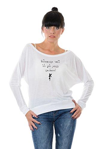 Longsleeve Damen mit Sprüchen / Funshirt Langarm Lady Shirt Damen / schulterfrei u-boot-ausschnitt Frauen mit Print Schnauze voll von 3Elfen, T-Shirt mit Spruch modisch - weiß XL
