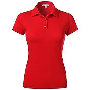 Luna Flower Women's Short Sleeve Cotton Slim Fit Polo Shirt (GTEW103)