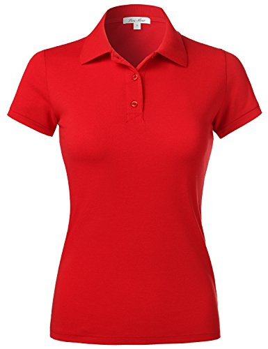 Plus Size Slim Fit Short Sleeve Sport Plain Polo Shirts,103-Red,US 2XL