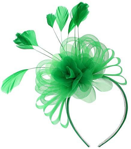 Green Flower Feathers Fascinator Tea Party Hats Headband Kentucky Derby Wedding Headwear Hair Hat Clip for Women (Christmas St.Patrick Green) ()